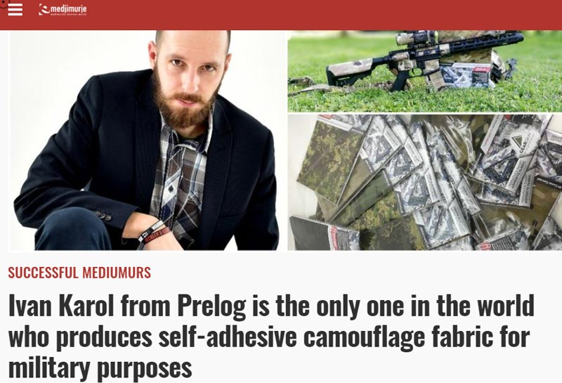 Ivan Karol from Prelog is the only one in the world who produces self-adhesive camouflage fabric for military purposes